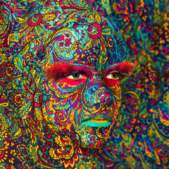 circus color face art woman close up portrait