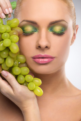 Beauty with grape.