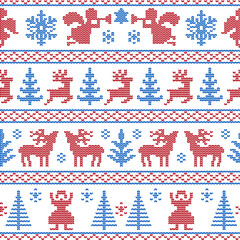 Christmas seamless pattern in knitting technique