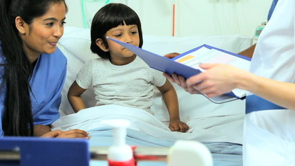 Asian Indian Female Child Patient Nursing Staff