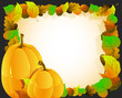 Pumpkins on autumn leaves  background