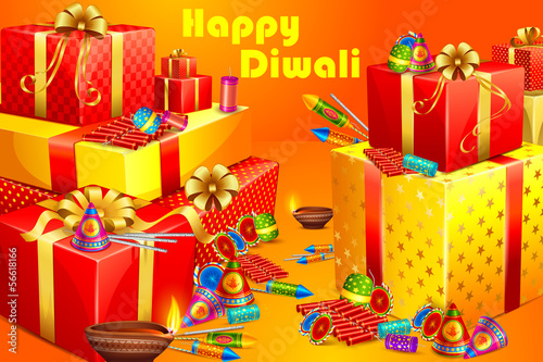 vector illustration of gift and firecracker for Diwali
