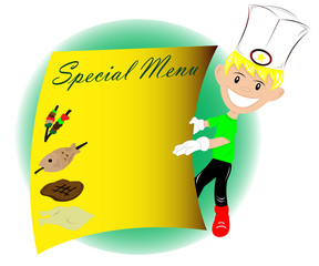Young chef offering menu