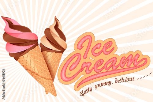 vector illustration of colorful ice cream cone