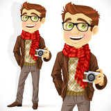 Hipster guy wearing a scarf and with camera