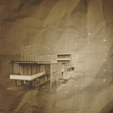 new modern architectural 3d on crumpled paper background