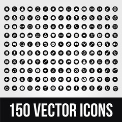 150 Universal Vector Icons for Mobile and Web