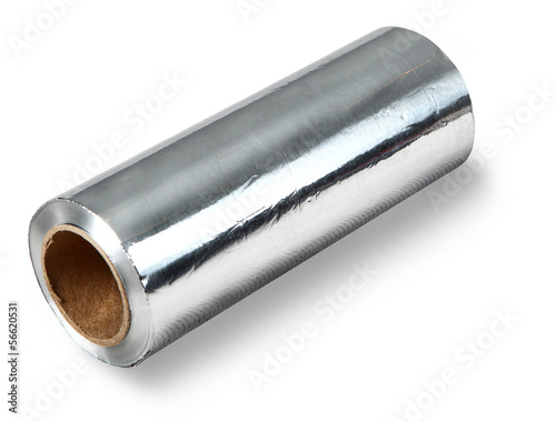 Large roll of aluminum foil food, isolated on white background.
