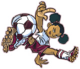 African Break Dancing Soccer Girl Vector Clip Art