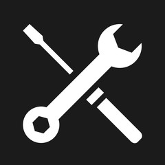 Vector Wrench and Screwdriver Icon White