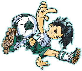 Asian Break Dancing Soccer Girl Vector Clip Art