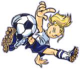 Caucasian Break Dancing Soccer Girl Vector Clip Art