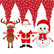 Christmas reindeer, snowman and Santa Claus in a forest
