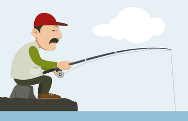fisherman holding a fishing pole