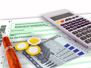 Steuerformular fünf Euro