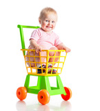 baby in a supermarket trolley