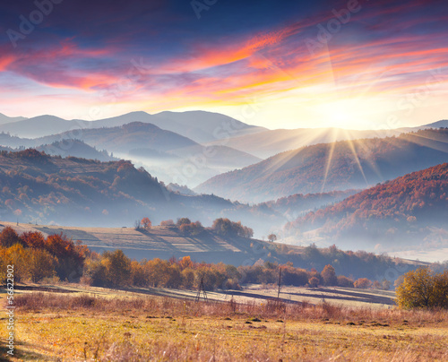 Colorful autumn landscape of the mountain village