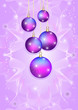 five bright Christmas balls on a light purple background