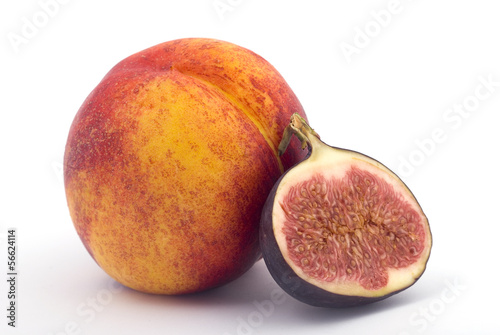 Nectarine and Fig isolated on white