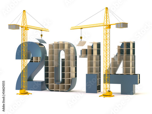 2014 and cranes - white background