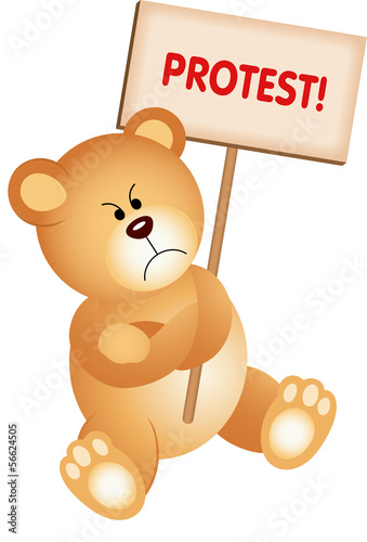 Angry Teddy Bear with Placard Protest