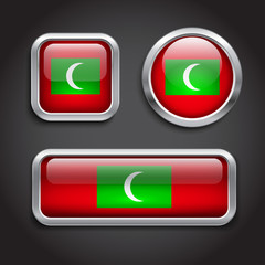 Maldives flag glass buttons