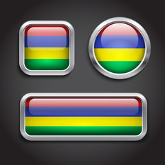 Mauritius flag glass buttons