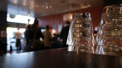 atmospheric situation in a cafe in Zurich, Bokeh in the backgrou
