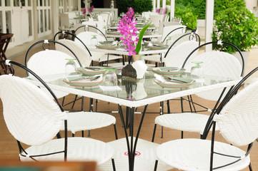 Luxury dinner tables sets outside restaurants, Thailand.