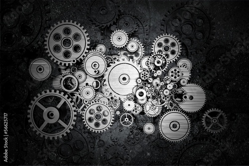 Leinwandbild Motiv Grunge Cog Wheels