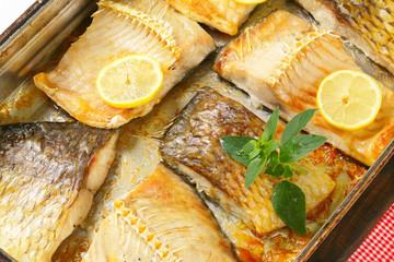 Oven roasted carp fillets