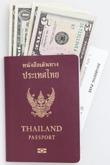 Thailand passport bank note and boarding pass