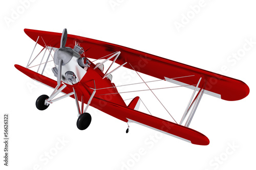 Red Airplane - Biplane Isolated on White