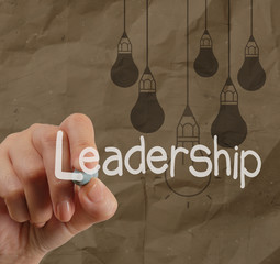 hand writing leadership with crumpled recycle paper background