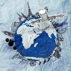 crumpled paper and traveling around the world as vintage style