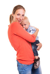 Young Caucasian woman and her baby son over white