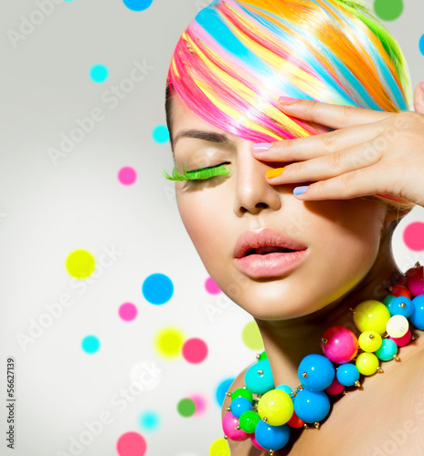 Beauty Girl Portrait with Colorful Makeup, Nails and Accessories