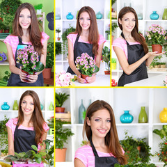 Collage of beautiful girl florist with flowers