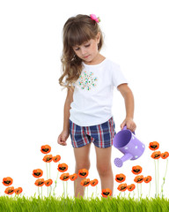 Little girl watering beautiful poppies isolated on white