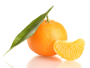 Ripe sweet tangerine with leaf, isolated on white