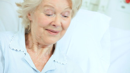 Female Patient Hospital Bed Reassured Caring Relative