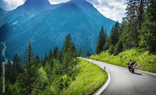 Motorcyclists in mountainous touring