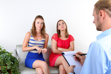 Sisters with problem on reception for psychologist