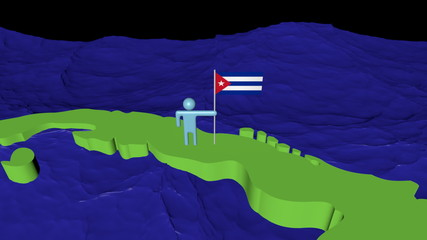Man with flag on Cuba map in ocean animation