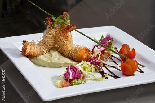 Gambas, cuisine, gastronomie, plat, restaurant, repas
