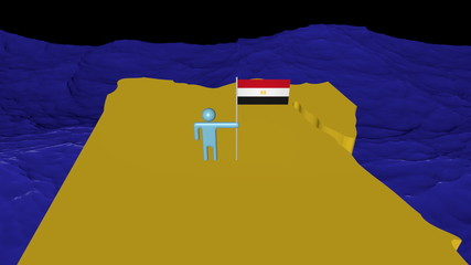 Man with flag on Egypt map in ocean animation