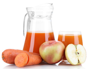Carrot juice and fresh carrot and apple isolated on white