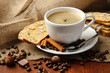 Cup of tasty coffee with tasty Italian biscuits,