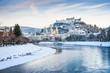 Salzburg skyline with river Salzach in winter, Austria