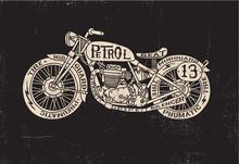 Rempli texte Vintage Motorcycle